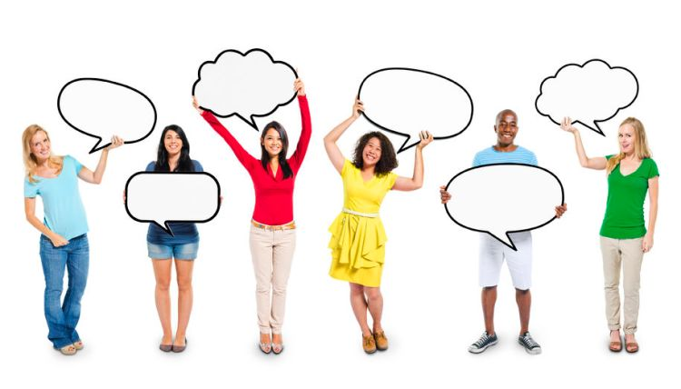 28626835 - multiethnic diverse people holding blank speech bubbles